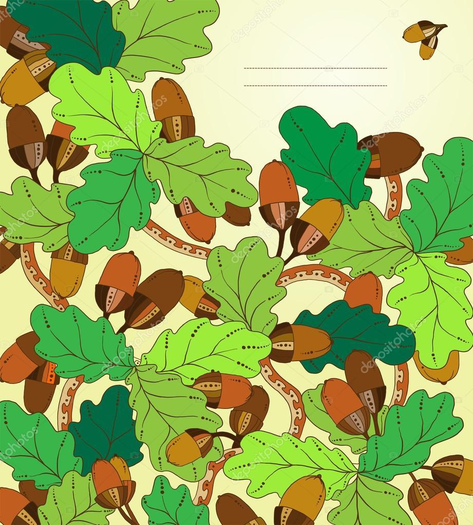 矢量花卉卡,手工绘制复古的橡树叶和橡树果.图形背景与地方为您的文本