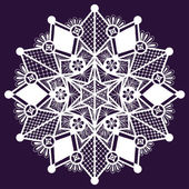 Ornamental winter hand-drawn lace snowflake. Doodle background. — Vector de stock