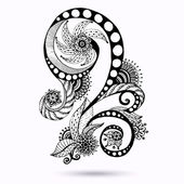 Henna Paisley Mehndi Doodles Abstract Floral Vector Illustration Design Element. Black And White Version. — Stock Vector