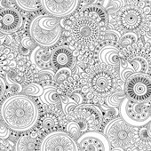 Seamless flower black and white retro background — Vettoriale Stock