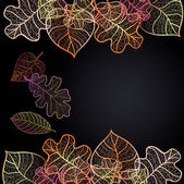 Ornamental background with art autumn leaves — Stock Vector