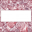 Fresh pink roses frame border isolated. — Stock Vector