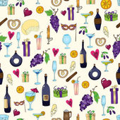 Wine and coctail seamless background. Holiday pattern with love hearts, wine, grapes, chees, bear and gifts. Colored version. — Stock Vector