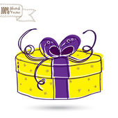 Sketch gift box with bow — Stock Vector
