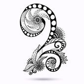 Henna Paisley Mehndi Doodles Design Element. — Vector de stock