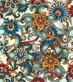 Seamless pattern floreale con scarabocchi e cetrioli — Vettoriale Stock