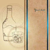 Template card with glass and bubbles, vector illustration. Hand drawn pattern. — Vetor de Stock