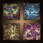 Set of four decorative ornamental ethnic cards in vector — Vetorial Stock