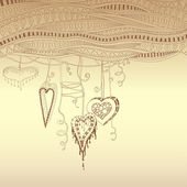 Vector abstract floral decorative background with doodle hearts. Template frame design for card with place for your text. — Stockvektor