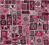 Seamless pattern. Sampler doodle flowers, leaves, hearts. — Stockvektor