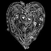 Original drawing doddle heart. — Stock Vector