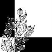 Schwarzen hintergrund mit dekorativen blumen — Stockvektor
