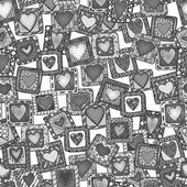 Seamless pattern of original drawing doodle hearts. Black and white version. — Stock Vector