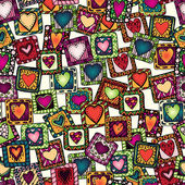 Seamless pattern of original drawing doodle hearts. — Stock Vector