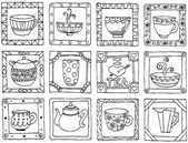 Tea cups and pots frame funny banner hand drawn design. Seamless thing. — Stock Vector