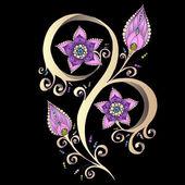 Henna Paisley Mehndi Doodles Design Element. — Stock Vector