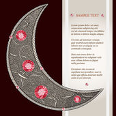 Graphic decorative moon with red rubies with place for your text. Layered vector. — Stock Vector