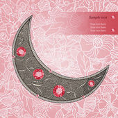 Graphic decorative moon with red rubies on the floral background. Layered vector. — Stock Vector