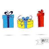Esbozo de tres cajas de regalo con arcos aislados sobre el fondo blanco — Vector de stock