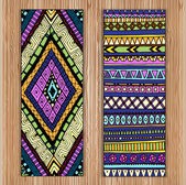 Unique Abstract Ethnic Pattern Card Set On Wood Background.Tribal texture. Series of image Template frame design for card. — Stock Vector