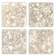 Hand drawn pattern cards with flowers and leaves. — Vettoriale Stock