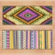 Abstract Ethnic Pattern Cards On Wood Background. — Stok Vektör