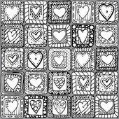 Modèle sans soudure d'origine coeurs doodle. — Vecteur