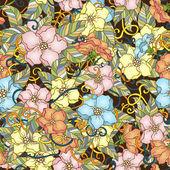 Modèle sans couture avec des fleurs de cerisiers en fleurs. — Vecteur
