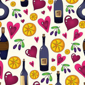Wine seamless background in vector. Used clipping mask for easy editing. — Stock Vector