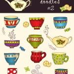 Vector set of doodle tea cup. Series of doodles. — Stock Vector #47605345