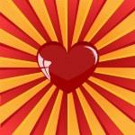 Sunburst red heart — Stock Vector