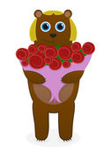 She-bear with a bouquet of roses — Stock Vector