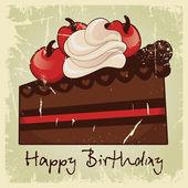 Cake Happy Birthday vintage — Stock Vector