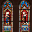 Stock Photo: Catholic stained glass window from church.