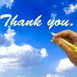 Stock Photo: Hand writing thank you on blue sky.