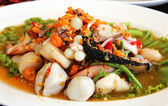 Thai seafood salad in thai restaurant. — Stock Photo
