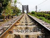 Railway bridge at Bangkoknoi, Talingchan, Thailand. It is near T — Stock Photo