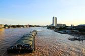 Floating ships on the Chao Phraya River in Bangkok. Thailand — Stock Photo