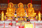 The three Buddhas in the Chinese temple of Thailand — Stock Photo
