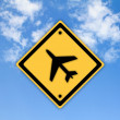 Airplane airport sign on beautiful sky background. — Stock Photo