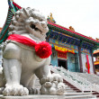 Chinese Lion Stone Sculpture in the Chinese Temple in Nonthaburi — Stock Photo