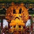 Thousand hands wooden Buddha in Chinese temple,Thailand — Foto de Stock