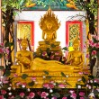 Buddhas inside the Wat Chalong temple, Phuket, Thailand. — Stock Photo