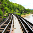 Stock Photo: Dead railway beside cliff, along Kwai river in Thailand