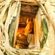 Root of the tree absorbing the ruins,Temple in thailand — Stock Photo