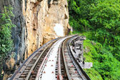 Dead railway beside cliff, along Kwai river in Thailand — Stock Photo