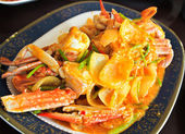 Thai cuisine,Fried crab with curry powder — Stock Photo