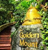 Golden mountain tempel zeichen — Stockfoto