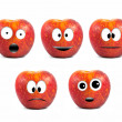 Funny fruit character Red Apples on white background — Stock Photo