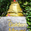 Golden mountain temple sign — Stock Photo
